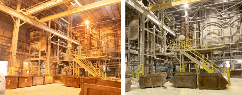 Redaptive enables energy efficiency upgrades including the replacement of lighting with energy efficient LED fixtures. Pictured, is a Huntsville, Alabama manufacturing facility owned by Saint-Gobain. On the left is a view inside the facility before the lighting replacement. On the right is the same view after the LED lighting installation.