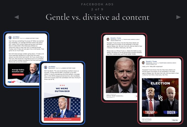 The different digital marketing channels allow the Biden and Trump campaigns the chance to reach their voters with their own unique messaging.