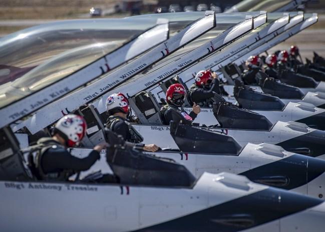 The U.S. Air Force Thunderbirds pilots prepare to take flight.