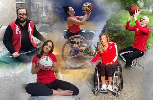 Para athletes Billy Bridges, Shacarra Orr, Tara Llanes, Melanie Labelle, and Nicolas-Guy Turbide try the challenges for ParaTough Cup: Home Edition PHOTO: Canadian Paralympic Committee (CNW Group/Canadian Paralympic Committee (Sponsorships))