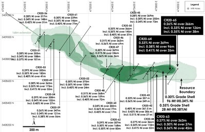 Figure 1 - Plan View of Main Zone Nickel Resource, Crawford Nickel-Cobalt Sulphide Project, Ontario. (CNW Group/Canada Nickel Company Inc.)