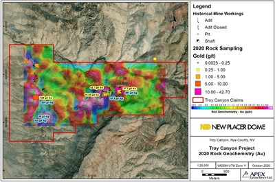 Figure 2. Troy Canyon 2020 Rock Grad Sample Results (Showing Gold Soil Geochemistry) (CNW Group/New Placer Dome Gold Corp.)