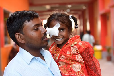 A young girl after undergoing a successful pediatric cataract surgery at an Orbis partner hospital in India in 2019. Photo: Geoff Oliver Bugbee (PRNewsfoto/Orbis International)