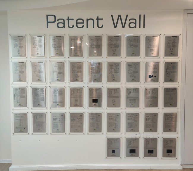 Jungo's patent wall with over 40 patents