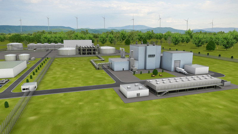 Artist's rendering of the Natrium™ reactor and energy system, a sodium fast reactor paired with a molten salt system for heat storage and re-use. (Image courtesy of TerraPower.)