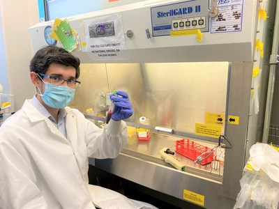 An Aridis scientist working on the development of a COVID-19 treatment derived from the immune system's disease-fighting antibodies, called monoclonal antibodies.