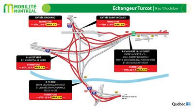 Échangeur Turcot, fin de semaine du 9 octobre (Groupe CNW/Ministère des Transports)