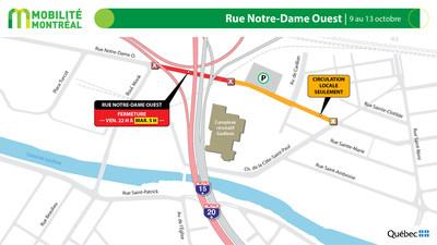 Rue Notre-Dame Ouest / projet Turcot, fin de semaine du 9 octobre (Groupe CNW/Ministère des Transports)