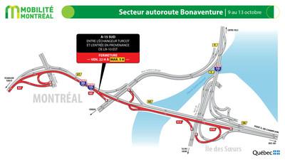 A15 SUD secteur Île des Sœurs, fin de semaine du 9 octobre (Groupe CNW/Ministère des Transports)