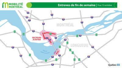 Carte générale des entraves, fin de semaine du 9 octobre (Groupe CNW/Ministère des Transports)