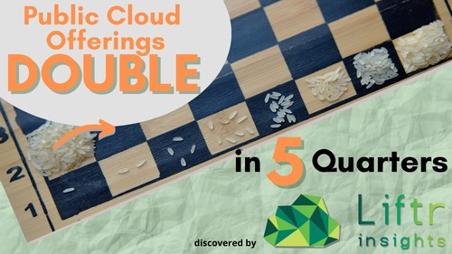 Pubic cloud provider offerings have more than doubled in the last 5 quarters, as seen in data provided by Liftr Insights