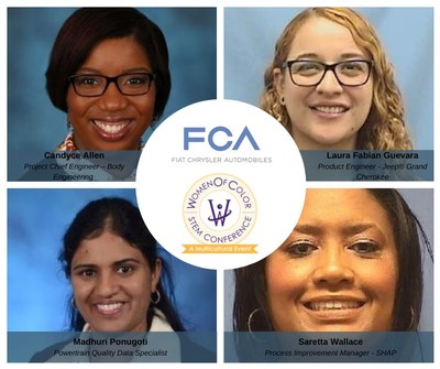 The annual Women of Color STEM Conference honors many of the country's most promising and influential female technical business leaders. FCA's 2020 honorees: Candyce Allen, Project Chief Engineer – Body Engineering: Technology All-Star Award; Saretta Wallace, Process Improvement Manager - SHAP: Technology All-Star Award;  Laura Fabian Guevara, Product Engineer - Jeep® Grand Cherokee: Technology Rising Star Award; Madhuri Ponugoti, Powertrain Quality Data Specialist: Technology Rising Star Award
