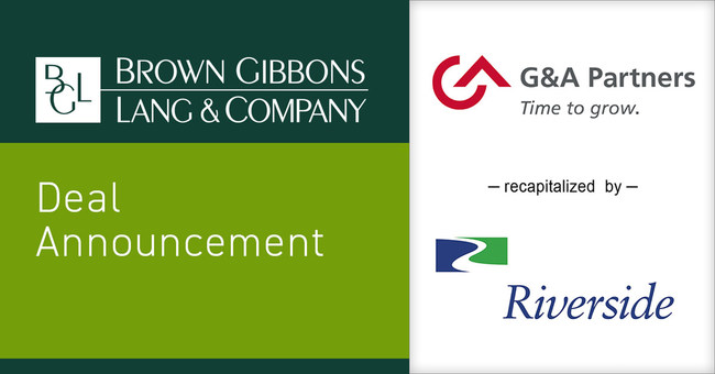 Brown Gibbons Lang & Company (BGL) is pleased to announce the recapitalization of G&A Partners (G&A), the preeminent professional employer organization (PEO) firm serving the needs of small to medium-sized businesses (SMBs). The transaction was supported by a minority investment from The Riverside Company (Riverside), a prominent global private equity investor. BGL served as the exclusive financial advisor to G&A Partners.