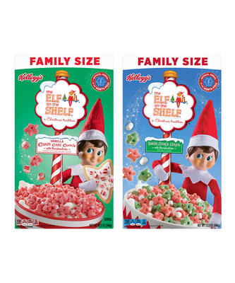 For a limited time, bring the magic of the holiday season to life with new Kellogg's® The Elf on the Shelf® Vanilla Candy Cane Cookie Cereal and Kellogg's® The Elf on the Shelf® Sugar Cookie Cereal.