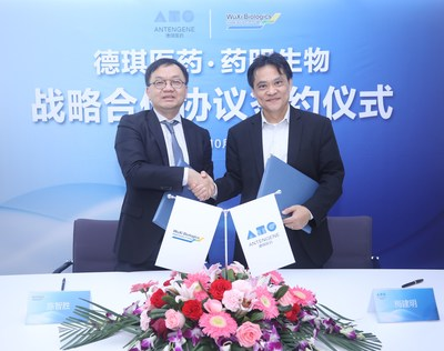 Dr. Chris Chen(Left), CEO of WuXi Biologics, and Dr. Jay Mei (Right), Founder, Chairman and CEO of Antengene (PRNewsfoto/Antengene)