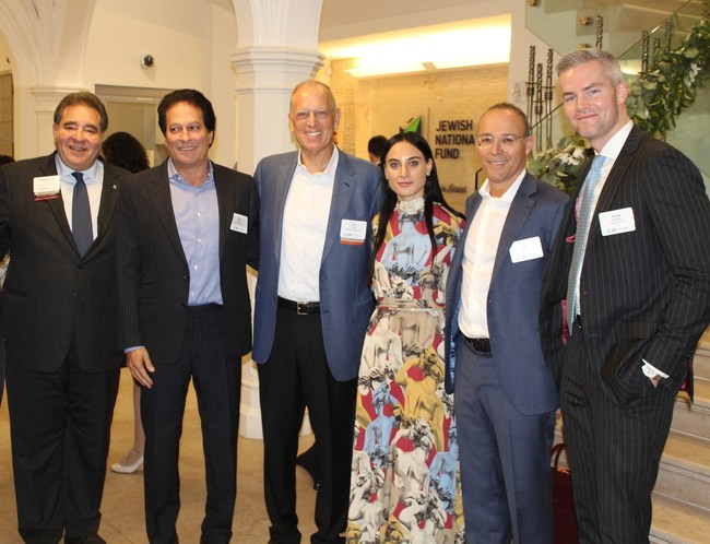 Guests at a 2019 JNF-USA Real Estate Division Event: (L-R) Russell F. Robinson, CEO, JNF-USA; Ziel Feldman, Chairman & Founder, HFZ Capital Group; Jeffrey E. Levine, Chairperson of the Board, JNF-USA, Founder & Chairman of Douglaston Development LLC, Levine Builders, and Clinton Management LLC; Danielle Naftali, Manager, Naftali Group; Miki Naftali, Founder, Chairman and CEO, Naftali Group; Ryan Serhant, CEO and Founder, SERHANT, and host of Bravo's Million Dollar Listing New York
