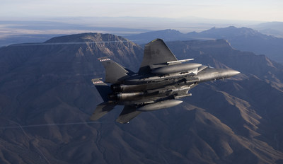 An F-15E carries a StormBreaker® smart weapon during a test exercise near White Sands Missile Range in New Mexico.