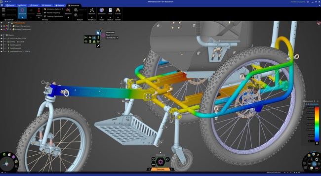Structural analysis of AdvenChair assembly within Ansys Discovery. Courtesy of Onward Project LLC.