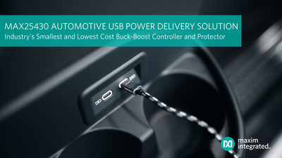 MAX25430 automotive buck-boost controller from Maxim Integrated enables automotive USB power delivery ports with industry's smallest solution size and lowest cost.