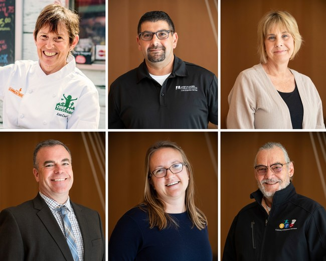 Founding school district leaders, from left to right, top to bottom: Chef Ann Cooper, Rob Jaber, Amy Maclosky, Stephen O'Brien, Anneliese Tanner, and Bertrand Weber.