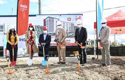 InterContinental Hotel Group and PI Cap have broken ground on the first avid™ hotel in Canada. Company leaders and local dignitaries marked the occasion at a special event on October 2. Pictured Left to Right: Sonia Sidhu, Member of Parliament, Government of Canada; Harpreet Rana, Owner PI Cap; Tony Carrella, Councillor, City of Vaughan; Sherjang Singh Rana, Owner PI Cap; Jonathan Lund, Regional Vice President InterContinental Hotels Group, Canada; Aman Ahuja, Owner-Representative PI Cap