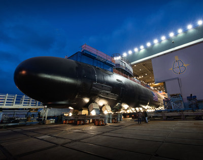 A Virginia-class submarine under construction at General Dynamics Electric Boat in Groton, Connecticut. The shipyard was awarded a $327.8 million contract for fleet maintenance and sub design work.