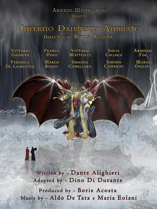 Inferno Dantesco Animato is a 39-minute medium length film about Dante's journey through the worst of the afterlife, Inferno. It features the voices of Franco Nero as the narrator, Vittorio Gassman as Dante, Silvia Colloca as Beatrice and Vittorio Matteucci as Virgil among many Italian celebrities.