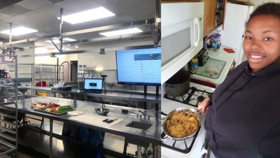 Learn4Life student Carla D. participates in a remote culinary arts Career Technical Education class