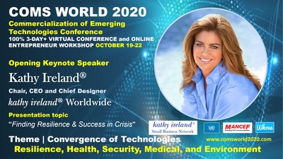 Kathy Ireland, Chair, CEO and Chief Designer kathy ireland® Worldwide to present the Opening Keynote address at COMS WORLD 2020.