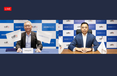 The partnership ceremony took place online with Amorepacific President Saehong Ahn(Left), CDFG President Charles Chen(Right)