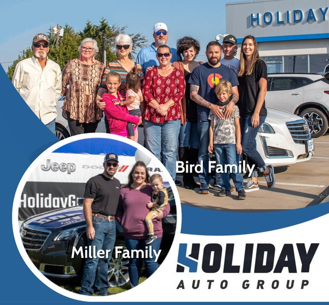 Holiday Auto Group Holiday 'You Deserve A Holiday' Car Giveaway Winners The Bird Family and Inset, The Miller Family.