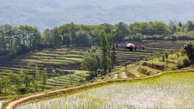 XAG drone copes with the rugged, irregular terrains in Honghe Hani Rice Terraces