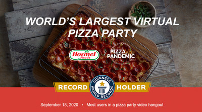 GUINNESS WORLD RECORDS™ title for the most users in a pizza party video hangout