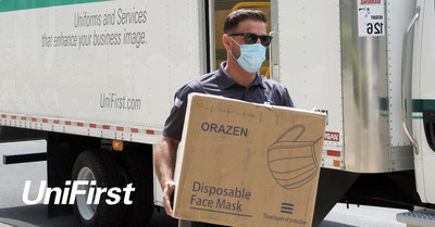 As part of UniFirst's ongoing commitment to helping communities in need, employee Team Partner Vincent Barbato (shown here) assisted with the company's recent donation of face masks in Saratoga Springs, N.Y. to help fight the spread of COVID-19.