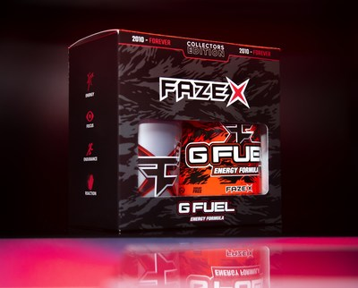 G FUEL FaZe X is a celebration of the 10-year anniversary of FaZe Clan, the world's most prominent and influential gaming organization. The new flavor will be available for sale in 40-serving tubs and limited-edition collectors boxes, which include one 40-serving FaZe X tub and one 16 oz shaker cup, at gfuel.com on October 21st.