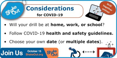 Graphic depicting COVID-19 considerations for holding ShakeOut drills. Other graphics, including the ShakeOut logo and Drop, Cover, and Hold On artwork, can be downloaded at ShakeOut.org/messaging in addition to key messages, drill broadcast narration recordings, and earthquake safety videos.