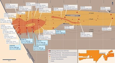 Figure 2 – Hurricane Zone Drill Hole Location Map (CNW Group/IsoEnergy Ltd.)