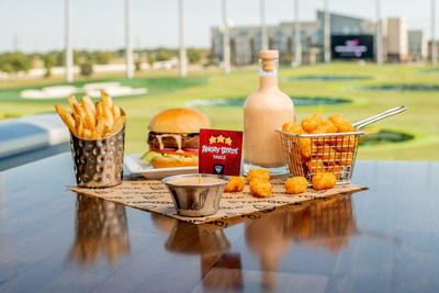 """The limited-edition """"Angry Birds Sauce"""" is perfect for dipping Topgolf fries, tots, cheesy macaroni bites and more!"""