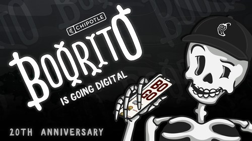 With many spooky traditions being disrupted across the country, Chipotle is bringing back Boorito for its 20th anniversary and giving fans a chance to virtually trick-or-treat for half a million BUY-ONE-GET-ONE (BOGO) entrée codes via text.
