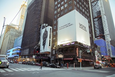 """Brazzers launched a series of billboards across the US, including one in Times Square, New York imploring Americans to #StrokeTheVote and """"On November 3rd, make your safe word...VOTE."""""""
