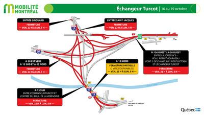 Échangeur Turcot, fin de semaine du 16 octobre (Groupe CNW/Ministère des Transports)