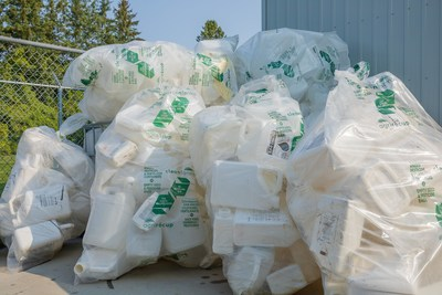 Empty pesticide and fertilizer jugs ready for recycling in Cleanfarms' container collection program. Photo Cleanfarms. (CNW Group/CleanFARMS Inc.)