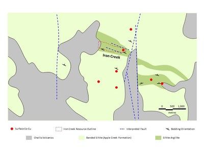 Figure 1. Bedrock geology and surface expression of cobalt-copper mineralization at the Iron Creek deposit and other known exposures of mineralization, including Ruby. The black box outlines the approximate extent of the 2020 geophysical survey. (CNW Group/First Cobalt Corp.)