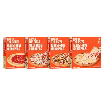 Banza Pizzas, Made from Chickpeas (from left to right: Plain Crusts, Margherita, Roasted Veggie, Four Cheese)