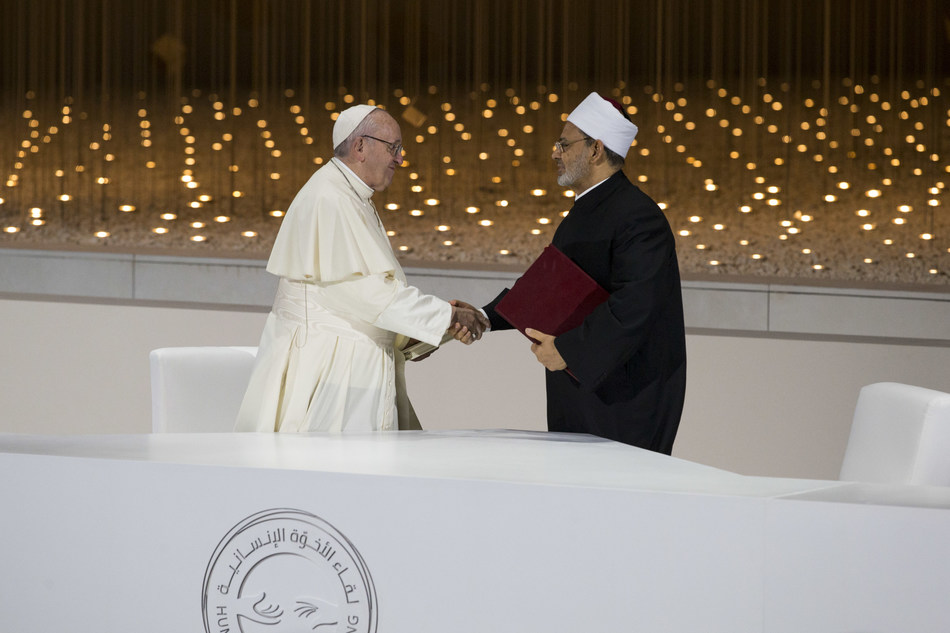 His Holiness Pope Francis and Grand Imam of Al-Azhar His Eminence Dr Ahmad al Tayeb