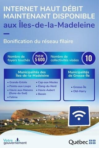 Internet haut débit aux Îles-de-la-Madeleine (Groupe CNW/Cabinet du ministre de l'Économie et de l'Innovation)