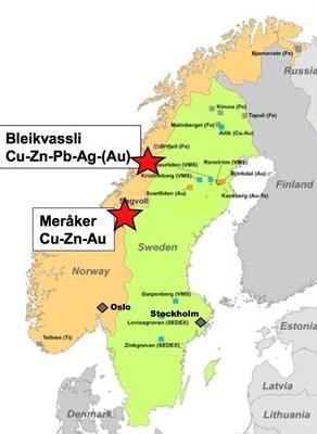 Norra's Norway properties location map (CNW Group/Norra Metals Corp.)