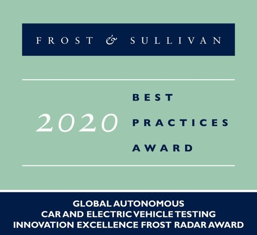 2020 Global Autonomous Car and Electric Vehicle Testing Innovation Excellence Frost Radar Award (PRNewsfoto/Frost & Sullivan)