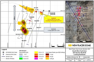 Figure 1. Bolo Gold Project BL20-02 Drill Section (CNW Group/New Placer Dome Gold Corp.)