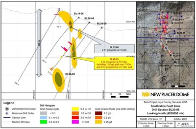 Figure 3. Bolo Gold Project BL20-05 Drill Section (CNW Group/New Placer Dome Gold Corp.)